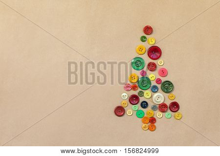 Christmas Tree From Colorful Sewing Buttons