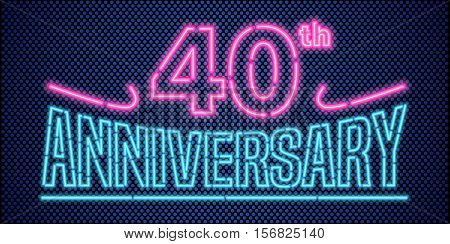 40 years anniversary vector illustration banner flyer logo icon symbol advertisement. Graphic design element with vintage style neon font for 40th anniversary birthday card
