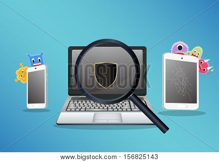 laptop smartphone and tablet scaning for find a virus computer