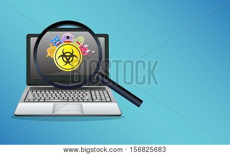 a laptop find  infected virus computer vector