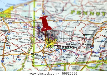 Map with pin point of Pittsburgh in Pennsylvania, USA