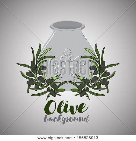 Olive oil in pot and twig of black olive with leaves. retro design of backround for lable or emblem. Italian cooking