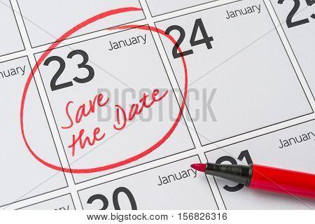 Save The Date Written On A Calendar - January 23