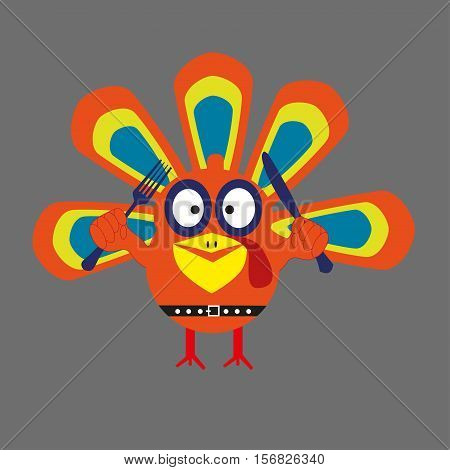 Illustration of the Vector Illustration cartoon turkey. Happy Thanksgiving day concept. Colorful turkey design