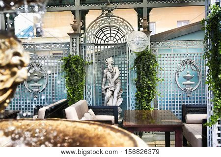 prestigious restaurant open terrace interior photo open air