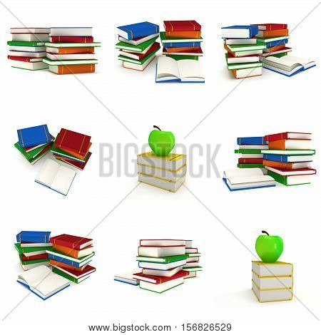 Colored book tower with apple on the top isolated on white background. 3d render of studing illustration. Back to school set