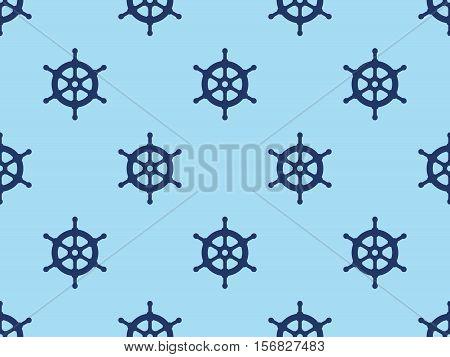Seamless ships steering wheel vector pattern background