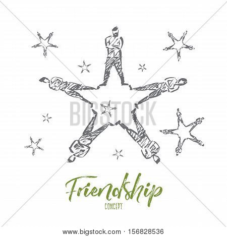 Vector hand drawn friendship concept sketch. People lying on floor and forming stars with their raised legs. Lettering Friendship concept
