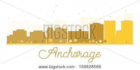 Anchorage City skyline golden silhouette. Simple flat concept for tourism presentation, banner, placard or web site. Business travel concept. Cityscape with landmarks