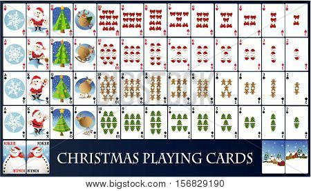 Christmas playing cards - holiday vector illustration