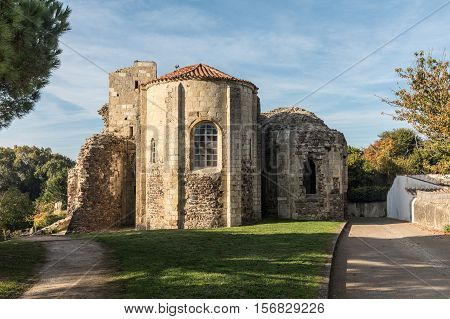 Rear of the Church Saint-Nicolas in Brem-Sur-Mer (Vendee, France)