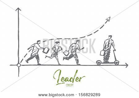 Vector hand drawn Leader concept sketch. Business man riding skateboard and going from running people behind. Lettering Leader concept