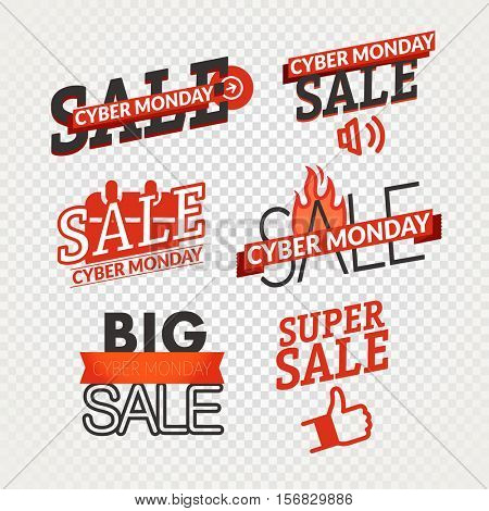 Cyber monday sale shopping logo collection isolated on transparent background. Vector illustration