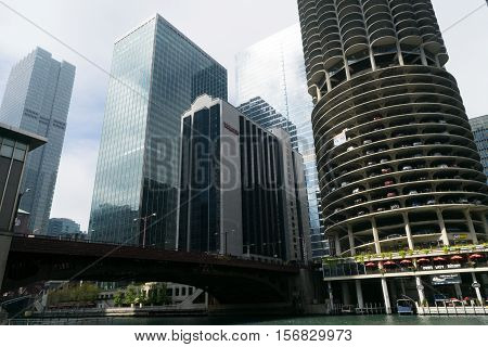 Chicago IL USA - September 25 2015: Modern buildings and Marina City Towers near Chicago river.