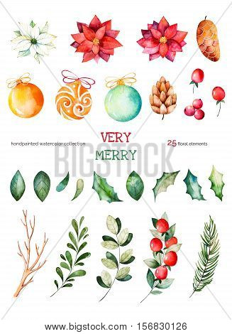 This Christmas set with 25 handpainted clipart (leaves,branches,fir-tree,Christmas balls,berries,holly,pinecones,poinsettia).