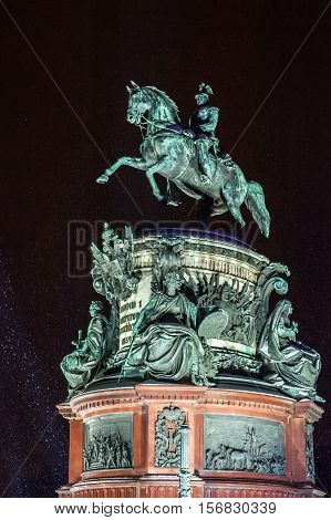 Monument To Nicholas I At Snowy Winter Night. Saint Petersburg, Russia