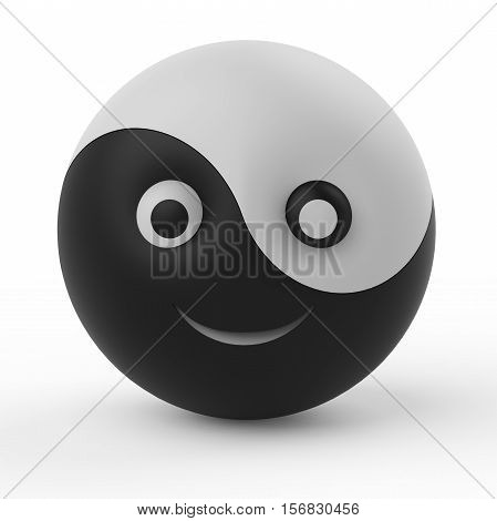 Ying Yang Ball Smiley Symbol