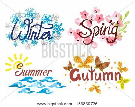 Four Seasons - winter spring summer autumn. Vector seasonal illustration.