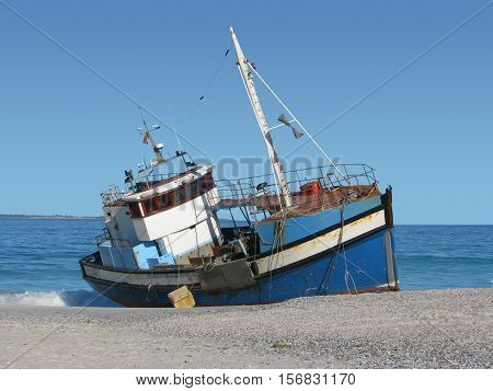 Ship Run Aground, Blouberg Strand Cape Town South Africa 12aas