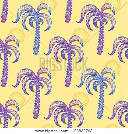 Seamless pattern with hand drawn palm trees. Vector illustration
