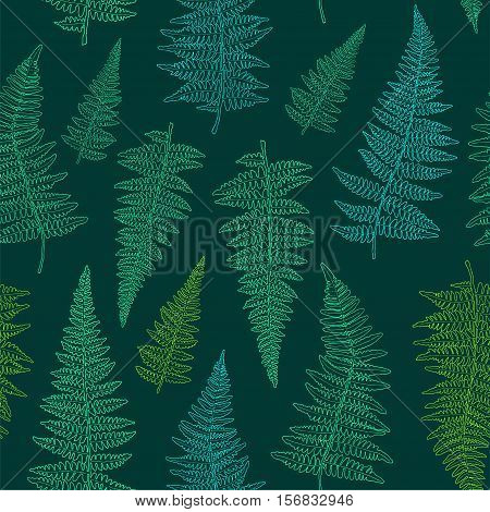 Seamless pattern with ink hand drawn fern leaves on dark green background. Vector illustration