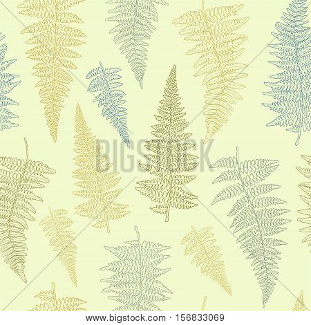 Seamless pattern with ink hand drawn fern leaves on light background . Vector illustration