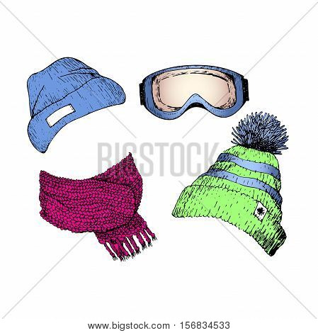 Vecor set of hand drawn ski clothing icons. Knitted scarf beanies goggle mask. Engraved colored illustration. Use for winter sport design promotion store ski resort advertisement.