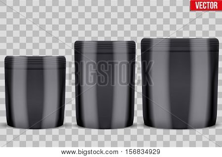 Template Sport Nutrition Foil Package. Whey Protein and Gainer. Black color. Vector Illustration isolated on white background