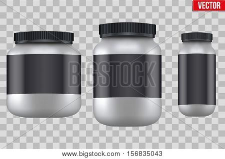 Template Background of Sport Nutrition Container. Plastic Whey Protein and Gainer Supplements. Plastic Jar. Silver color. Vector Illustration isolated on transparent background.