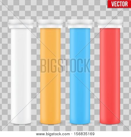 Template Plastic Bottle with Cap for Vitamins and Label. Vector Illustration isolated on transparent background