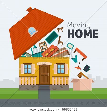 Moving home. Family moving out of the house with furniture in box. Flat style vector illustration.