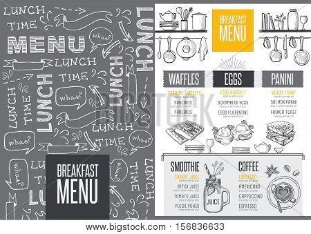 Breakfast menu placemat food restaurant brochure template design. Vintage creative dinner flyer with hand-drawn graphic.