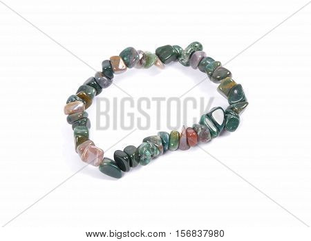 Splintered Moss Agate Chain On White Background