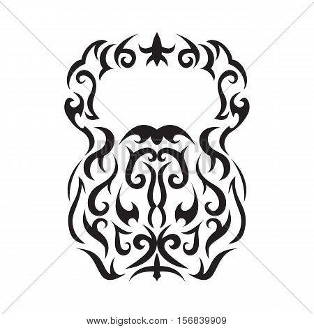 Vector illustration of kettlebell. Kettlebell stylized like tribal art or tattoo. Pictogram in black color on the white background.