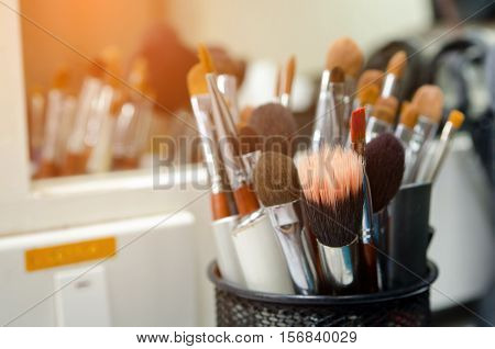 The Beautiful makeup brushes used in fashion .