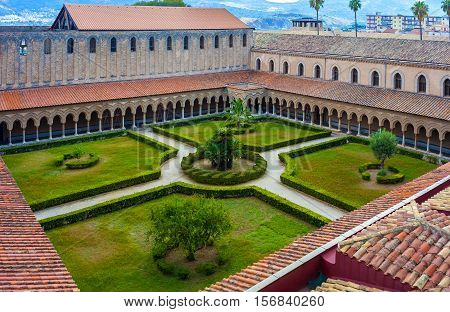 overhead view of the courtyard Cathedral of Monreale. Sicily Italy