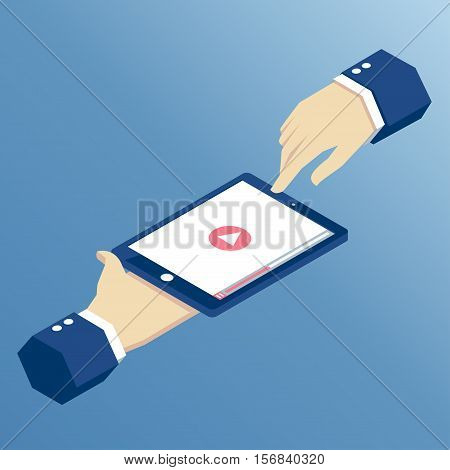 Isometric hands holding a tablet on which the video will play app for online video playback on the tablet isometric vector illustration