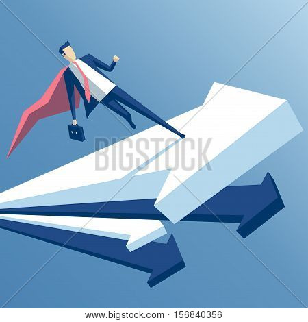 super businessman is running on a rising arrow an employee superhero rises on the arrow business concept growth and skill