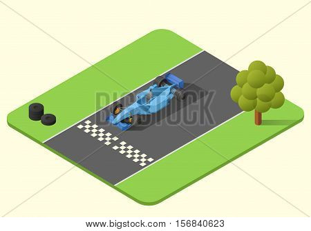 formula one race car vector isometric illustration. indy car axonometric