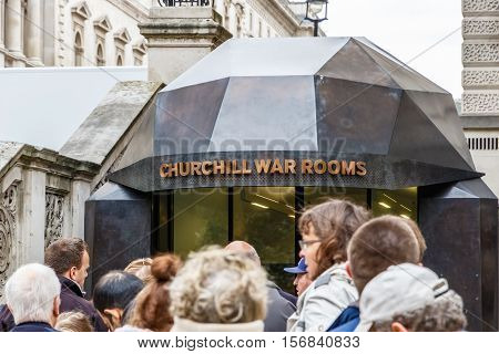London UK - October 19 2016 - Tourists queueing to get into Churchill War Rooms
