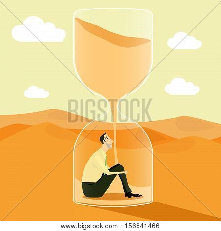 Businessman inside hourglass, concept of achievements in business - vector illustration.