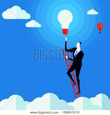 Businessman turn on the lights on a ladder above cloud. Vector Illustration Business concept a ladder Corporate of success.