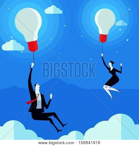 Businessman flying in air balloon with light bulb. Vector Illustration Business concept a ladder Corporate of success.