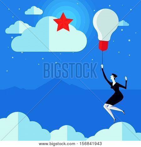 Young woman flying in air balloon with light bulb see the stars. Vector Illustration Business concept a ladder Corporate of success.