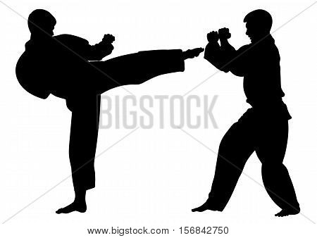 Silhouette karate athletes conducting a training match-vector