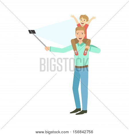 Father With Kid On Shoulders Taking Picture With Selfie Stick Illustration. Colorful Simplified Character Flat Vector Drawing Isolated On White Background.