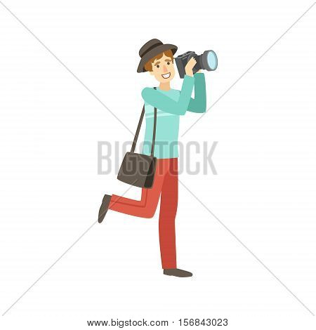 Professional Photographer Taking Pictures With Photo Camera Illustration. Colorful Simplified Character Flat Vector Drawing Isolated On White Background.