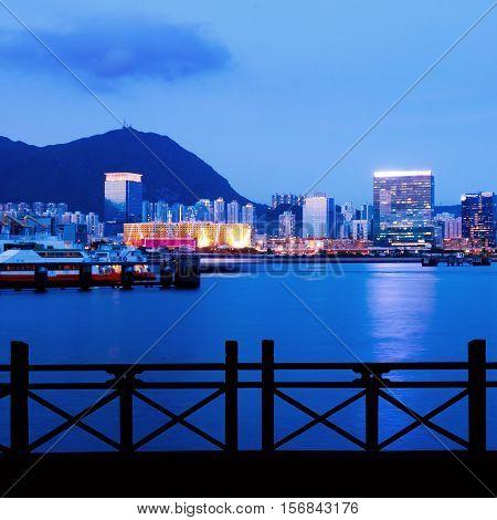 Summer Hong Kong's Victoria Harbour at night.