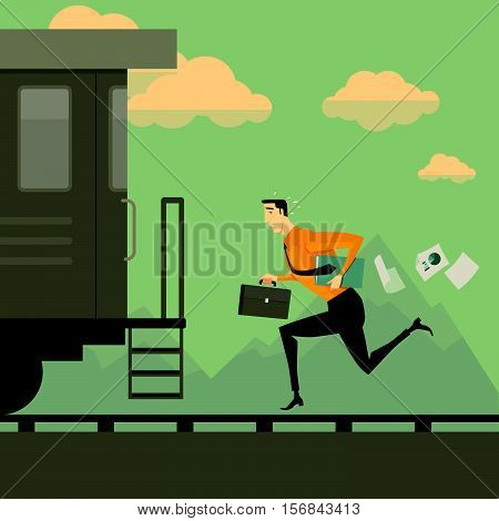 Man running after the train. Business success concept conquering adversity overcoming leadership challenge aspiration ambition motivation hurry up, vector illustration.