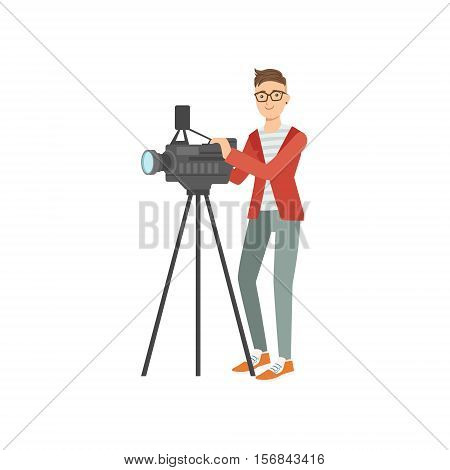 Professiona Cameraman Taking Pictures With Photo Camera Illustration. Colorful Simplified Character Flat Vector Drawing Isolated On White Background.